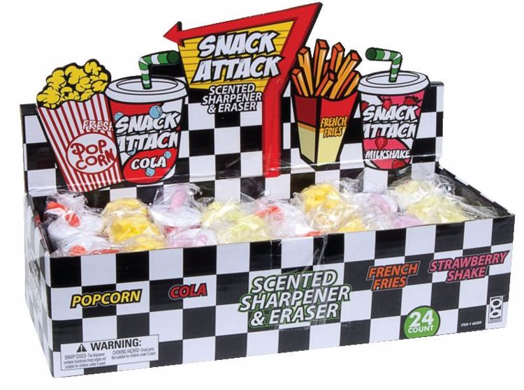 Picture of Snack Attack Scented Pencil Sharpeners and Erasers