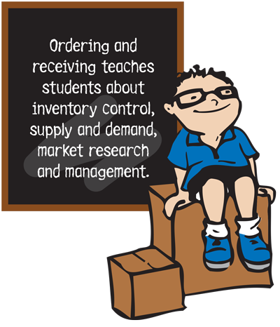 Ordering and receiving teaches students about inventory control, supply and demand, market research and management.
