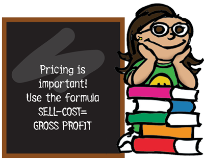 Pricing is important. Use the formula SELL-COST = GROSS PROFIT