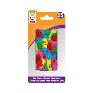 Picture of Home Office 25-Ct Happy Cap Eraser Pack