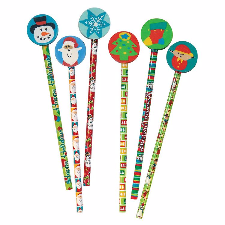 Picture of Jolly Holiday Pencils With Giant Erasers