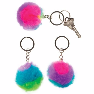 Picture of Rainbow Puffball Keychains