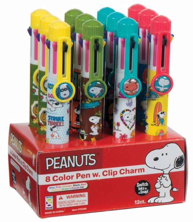 Picture of Peanuts® 8 Color Pens with Clip Charms