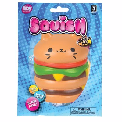 "Picture of 3"" Squish Cat Burger Toys"