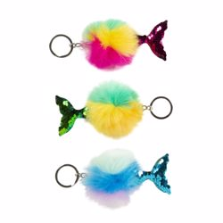 Picture of Rainbow Mermaid Tail Pufferball Keychain