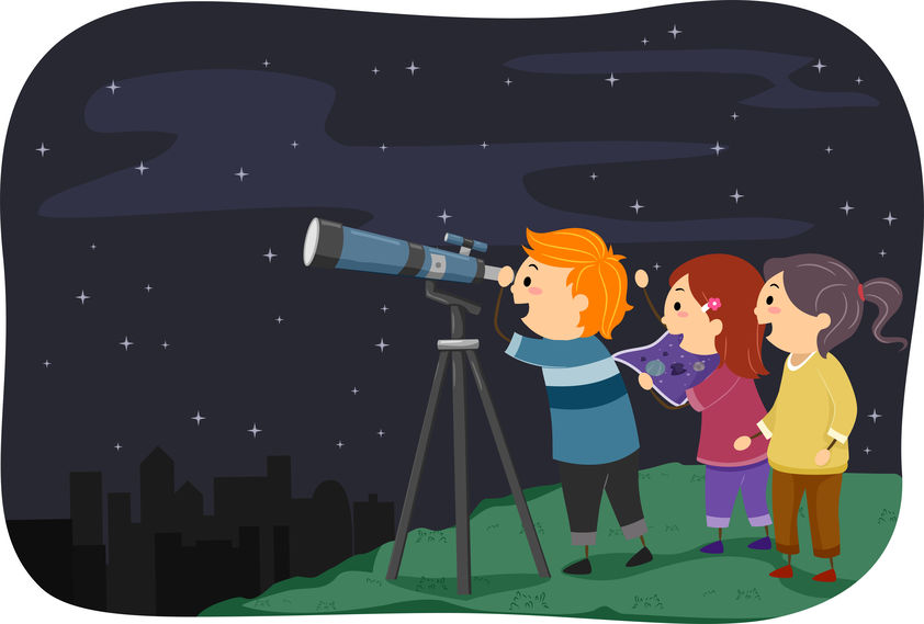 Science in the backyard. Children with a telescope at night.