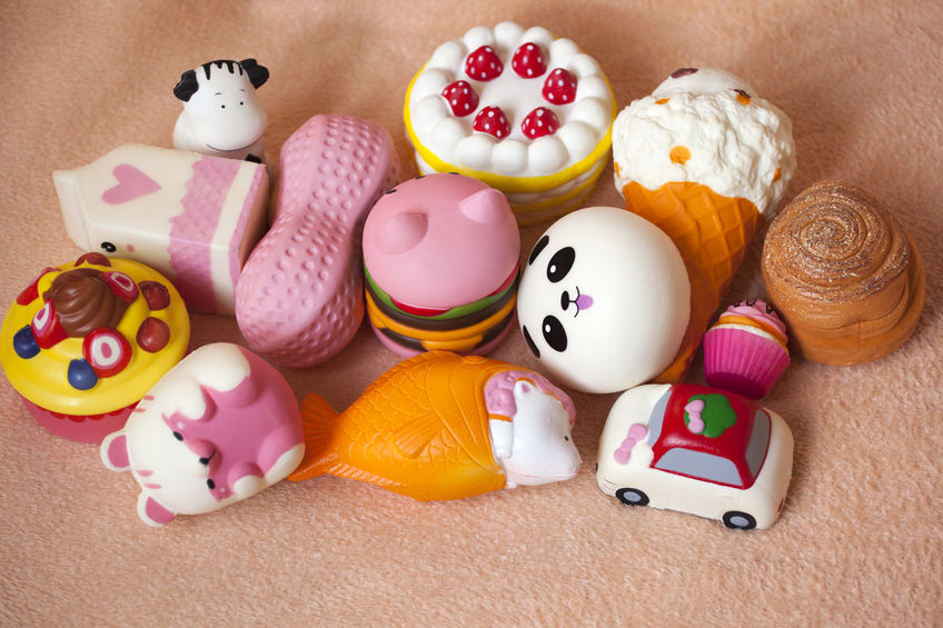 Assorted squishy toys from Raymond Geddes.