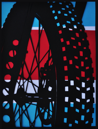 First place 2015 creativity scholarship winner. Bicycle tire image.